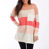 ColorBlock Pocket Sweater,Melon