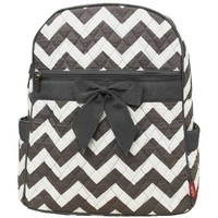 Grey & White Chevron Print Quilted Backpack (Grey)