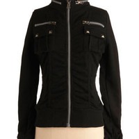 Get With Zip Jacket in Blacktop | Mod Retro Vintage Jackets | ModCloth.com