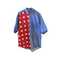 Vintage American Flag Denim Button Down Shirt