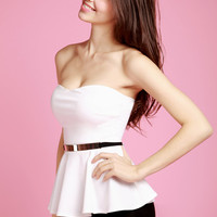Flared White Top - With Belt - LookbookStore