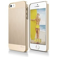 elago® S5 Outfit MATRIX Aluminum and Polycarbonate Dual Case for the iPhone 5/5S - eco friendly Retail Packaging (Gold / Gold) - Spark Design Award