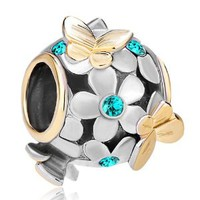 Pugster 22k Gold Plated Color Flower Golden Butterfly Bead Charm Fit All Brand Bracelet 12 Colors