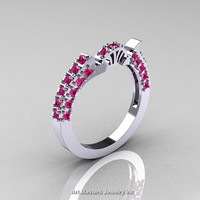 Classic French 10K White Gold Pink Sapphire Flush Matching Wedding Band R401B-10KWGPS