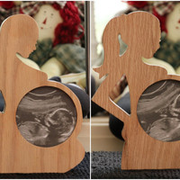First Photo Ultrasound Sonogram Wood Picture FRAME Silhouette Baby bump Expectant mother photo display Keepsake