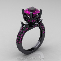 Classic French 14K Black Gold 3.0 Ct Amethyst Solitaire Wedding Ring R401-14KBGAM