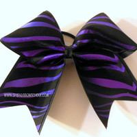 Purple Zebra Large Cheer Bow Hair Bow Cheerleading