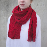 Sparkly Red Scarf with Cables, Extra Long, Hand Knit Wool, Women and Teen Girls, Valentine's Day Gift