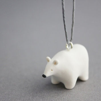 polar bear ornament decoration polymer clay polar bear figurine hanging decor