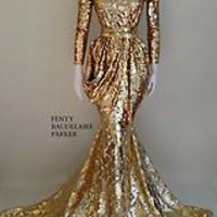 Original Price $1175 Anubis Alessandroni, Hand Beaded Sequins Gown. Mesh bodice with sequins detailing, nude lining, tear drop sequins beading on sleeves, chest, bodice. Hidden zipper