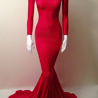 Full length gown with sleeves and train.Materials: 90% red scuba, 10% spandex