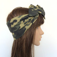 Camouflage Turban Headband, Teen, Women Hair Fashion, Bow Headband