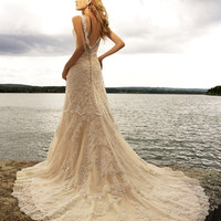 2011 Allure Bridal - Ivory & Silver Satin & Lace Tank Style Mermaid Wedding Gown - 2 to 32 - Unique Vintage - Bridesmaid & Wedding Dresses