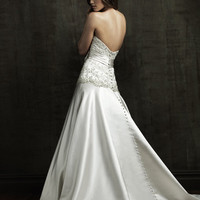 2011 Allure Bridal - White & Silver Satin Embroidered Strapless Dropwaist Wedding Gown - 2 to 32 - Unique Vintage - Bridesmaid & Wedding Dresses