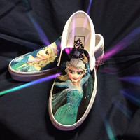 Queen Elsa from Frozen custom painted shoes