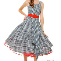 Black & White Checkered Amanda One Shoulder Belted Swing Dress - XS to 2X - Unique Vintage - Bridesmaid & Wedding Dresses