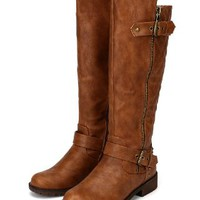 Nature Breeze Vivienne-01 Leatherette Quilted Knee High Riding Boot - Tan
