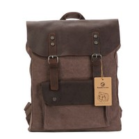 Koolertron Women vintage retro genuine leather canvas backpack rucksack weekend bag stachel