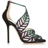 Blue Bottle Mix Suede and Hotfix Crystal Sandals   Kallai   Spring Summer 2014   JIMMY CHOO
