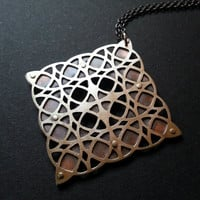 Geometric Pendant #6 - sterling silver and oxidised copper.