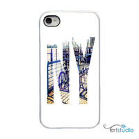 New York City Skyline with White or Black Sides iPhone Case - IPhone 4, 4s, 5, 5s Hard Cover - Fun Bright Art Unique Trendy - artstudio54
