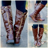 Creek Stone Brown Gold Buckle Riding Boots