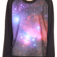 Galaxy Sweaters Galaxy Jumper Pink Blue Cosmic Space Sweatshirt Long Sleeve Women Jersey Black Shirts T-Shirt Unisex SBJ08 Size M
