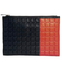 Leather Clutch Bag With 3D Effect