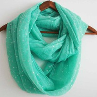 Infinity scarf Beautiful MINT GREEN color Fresh with SILVER, RARE!