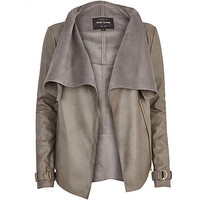 GREY LEATHER-LOOK WATERFALL JACKET