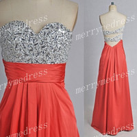 Beads Sequins Watermelon Red Sweetheart Strapless Backless Long Celebrity Dress,Chiffon Formal Evening Party Prom Dress Homecoming Dress