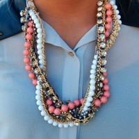 Multi Strand Beaded Crystal Necklace- Pink