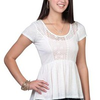 Short Sleeve Babydoll Top with Lace Inset and High Low Hem