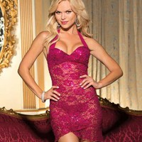 Shirley of Hollywood Glimmer Girl Lace Chemise Set LingerieSet Sleepwear 20550 at BareNecessities.com