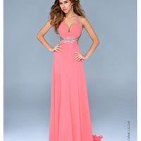 (PRE-ORDER) Nina Canacci 2014 Prom Dresses - Coral Chiffon Cut Out Halter Prom Gown