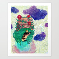 Basket Hat Woven Art Print by Ben Geiger