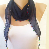 Navy Blue Scarf - Blue Cotton Lace Scarf - Neck Wrap Beaded Scarf Shawl