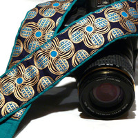 dSLR Camera Strap.Blue and Gold Camera Strap. Camera Accessories