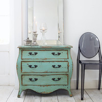 French Style Green Painted 3 Drawer Chest, Chest of Drawers | Graham and Green Bedroom