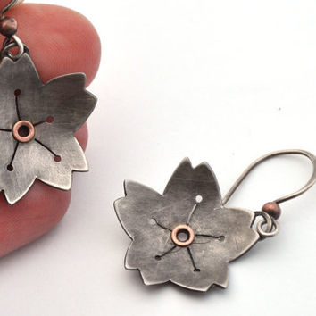 Silver Blossom Earrings with Copper Rivets, Handmade Ear Wires, and Brushed Patina