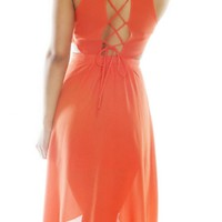 Orange Criss Cross Back Hi-Low Sleeveless Dress