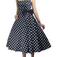 Black Plus-size Polka-Dot Belted Pleat Dress