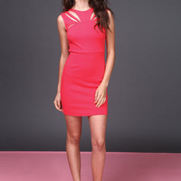 CORAL CUT OUT BODYCON DRESS