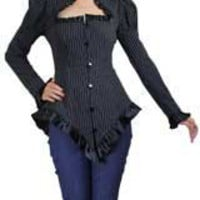 White stripes Plus-size Stripe Triangle Collar Jacket