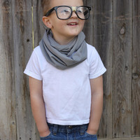 HANDSOME HIPSTER Toddler Scarf Little Boy Baby Infinity Jersey Knit GRAY Gift Rich Girl Rags Co Kid Unisex Girl Hipster Cute Kid