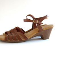 70s brown leather wedges. women's sandals.
