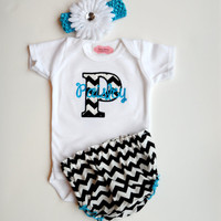 Chevron Personalized Baby Girl Clothes Newborn Girl Take Home Outfit Chevron Diaper Cover Flower Headband Baby Gift Set