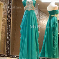 Cheap A-line Strapless Sweetheart Long Prom Dresses, Green Long Prom Dresses, Evening Dresses, Dress For Prom, Formal Dresses