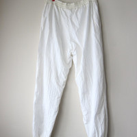 80s Womens White Windbreaker Pants -- Size Large, Bargain Priced! Hip Hop Style, Urban Hipster, Seapunk