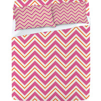 Caroline Okun Berry Pop Chevron Sheet Set